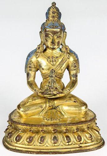 Antique Gilded Bronze Sino-Tibetan Buddha