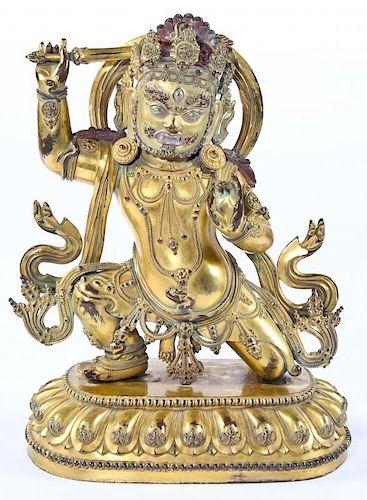 Fine Antique Chinese Gold Gilt Bronze Buddha