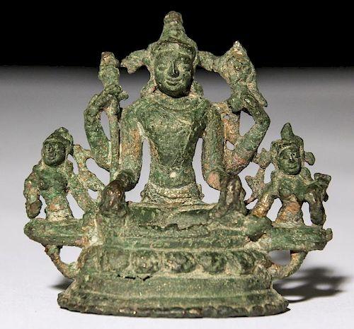 Bronze Seated Vishnu (3 Fig.), Pala Period (11/12th C)