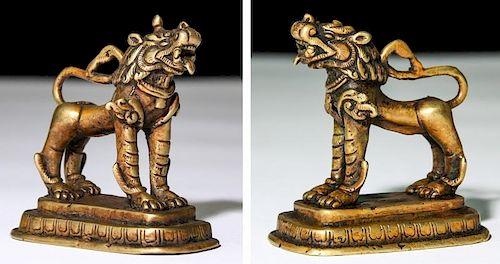 Pair of Bronze Foo Dogs, Newari (ca.1850)