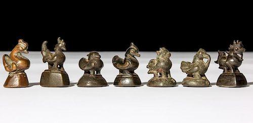 7 Mixed Burmese Bronze Opium Weights, 1800-1900