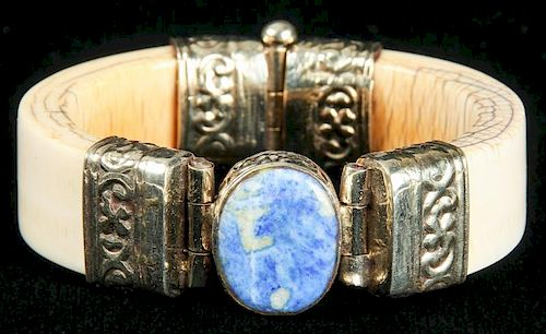 Antique Ivory 2-Part Bracelet w/Sodalite, India