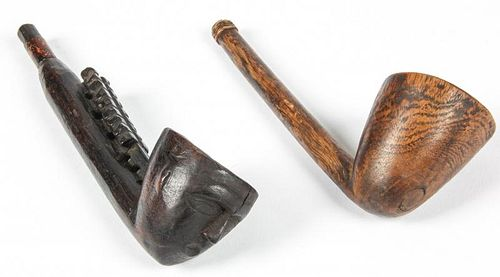 2 Naga Wood Pipes in Figurative and Plain Styles