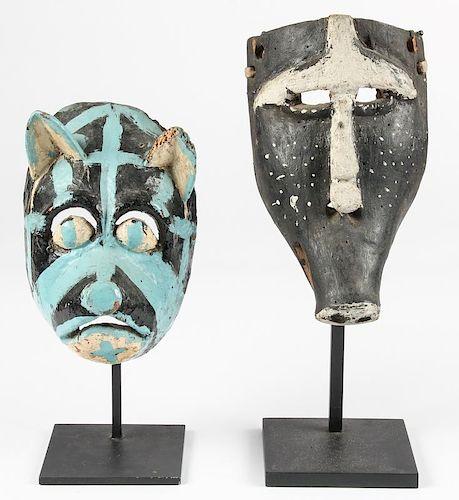 2 Vintage Mexican Dance Masks