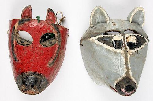 2 Vintage Mexican Animal Dance Masks