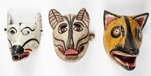 3 Vintage Mexican Animal Dance Masks
