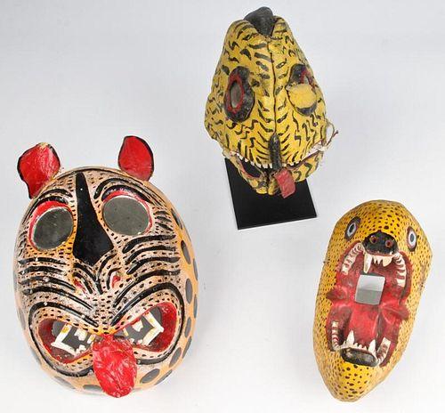 3 Vintage Mexican Tigre/Jaguar Masks