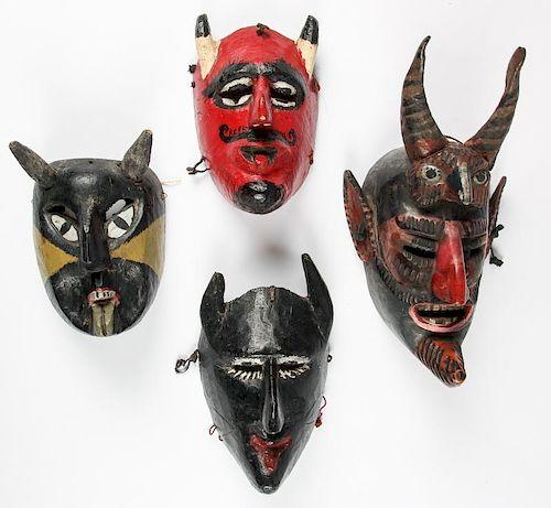 4 Vintage Mexican Diablo/Devil Dance Masks