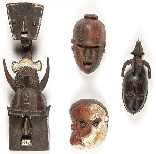 4 African Masks: Landai/Pende/Kasangu/Yuare