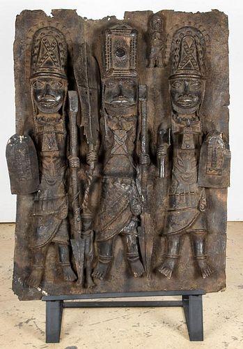"Massive Benin Bronze Plaque: 42"" x 31"" x 7"", 107 x 79 x 18 cm"
