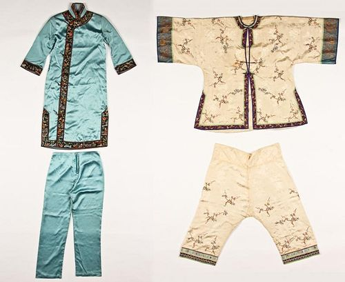 2 Sets of Chinese Silk Embroidered Robe and Pants