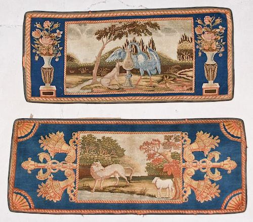 Two Antique Continental Pictorial Rugs