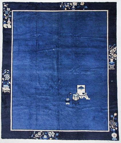 "Antique Chinese Rug: 8'2"" x 9'8"" (249 x 295 cm)"