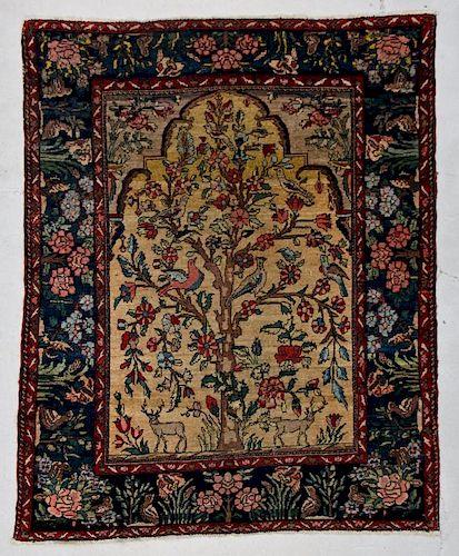 """Antique Baktiari Prayer Rug: 5'5"""" x 6'7"""" (165 x 196 cm)"""