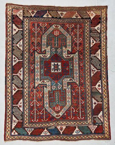 """Antique Sewan Kazak Rug: 6' x 7'10"""""""