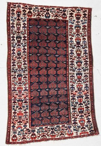 "Antique West Persian Kurdish Rug: 4'4"" x 6'8"" (132 x 203 cm)"