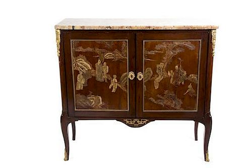 A Pair of Louis XV Style Gilt Bronze Mounted Coromandel Lacquer-Inset Cabinets Height 42 1/2 x width 45 1/2 x depth 17 1/4 inche