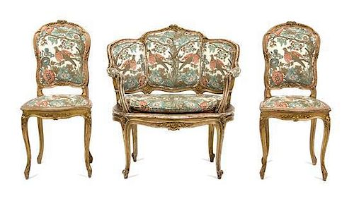 An Assembled Louis XV Style Giltwood Parlor Suite Height of settee 35 x width 33 x depth 22 inches.