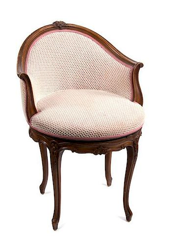A Louis XV Style Walnut Framed Vanity Chair Height 24 inches.