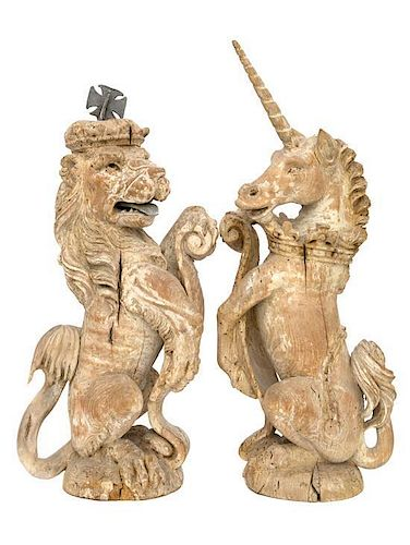 A Pair of Continental Limed Wood Figures Height 22 inches.