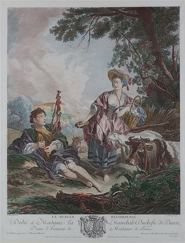 A Pair of French Color Engravings Plate size 19 1/5 x 14 3/4 inches.