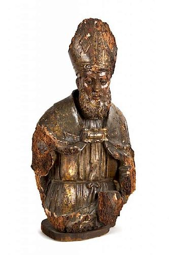 An Early Continental Ecclesiastic Carved Wood Bust of a Bishop Height 25 inches.