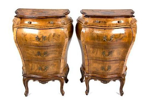 A Pair of Italian Parquetry and Burlwood Bombe Side Cabinets Height 31 inches.