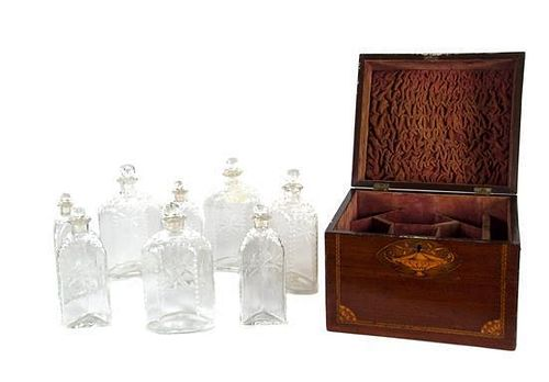 An English Mahogany Campaign Style Decanter Box Height 10 1/4 x width 9 x depth 10 1/2 inches.