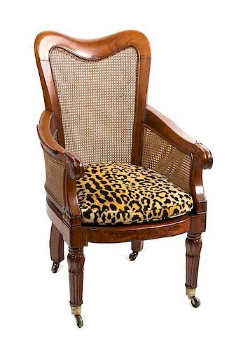 A Regency Mahogany Library Chair Height 38 inches.
