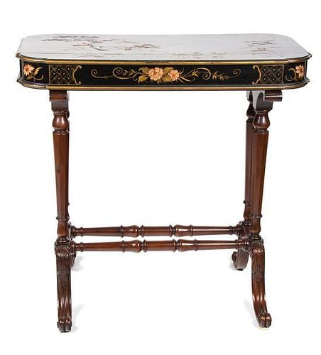 A Regency Style Chinoiserie Lacquered Side Table Height 25 1/2 x width 26 1/4 x depth 14 1/2 inches.