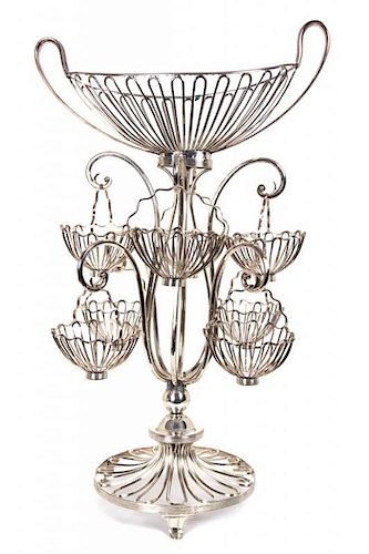 Sheffield Silver Plate Epergne Height 24 x width 14 inches.