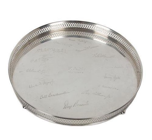 An American Sterling Silver Circular Tray, , with a pierced gallery, the center engraved F.A.M. May 1, 1954 and surrounded by 14
