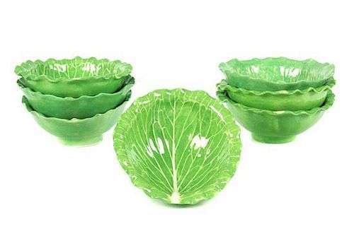 A Set of Seven Dodie Thayer Lettuce Ware Bowls Diameter 5 1/2 inches.