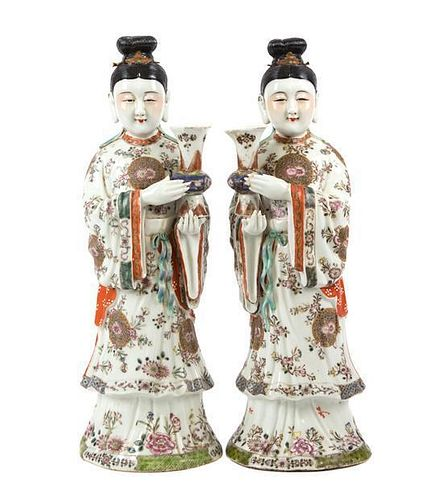 A Pair of Chinese Porcelain Figures Height 15 1/4 inches.