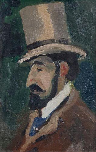 Bernard Lamotte, (French, 1903-1983), Profile of a Man in a Top Hat