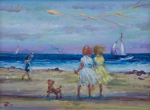 Philip Corley, (American, 20th century), Beach Walk, 1944