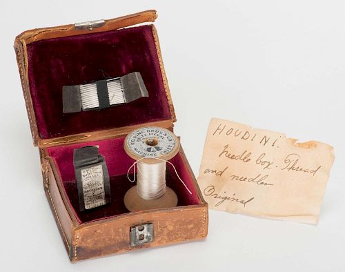 Houdini Needle Trick. Including an antique leather box (4 x 3 x 2о) lined with satin, containing a w