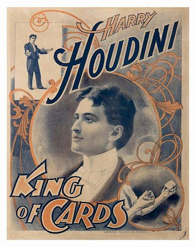 Houdini, Harry. Harry Houdini. King of Cards. Chicago: National Printing and Engraving, ca. 1898. Ha