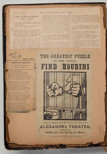 Houdini, Harry. Massive Scrapbook Compiled by Houdini Of His Own Publicity and Press Clippings. 1900