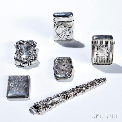 Six Pieces of American Sterling Silver, early 20th century, three pieces by Unger Brothers including two matchsafes: one with a classic
