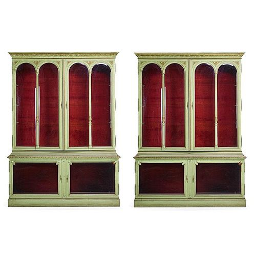PAIR OF NEOCLASSICAL STYLE PAINTED OAK BOOKCASES
