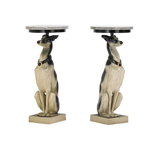 PATINATED METAL WHIPPET FORM SIDE TABLES