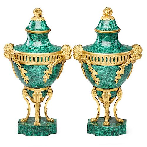 PAIR OF GILT BRONZE AND MALACHITE URNS
