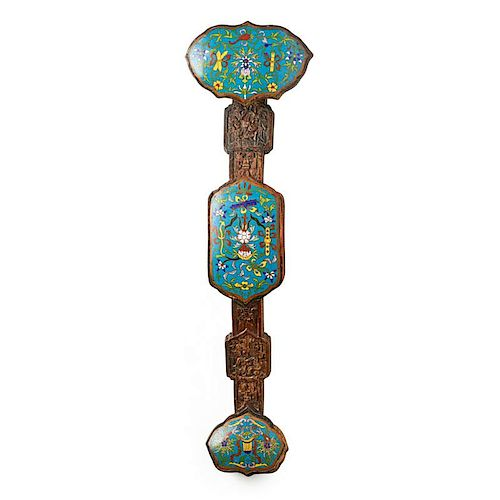 CHINESE CLOISONNE AND WOOD RUYI