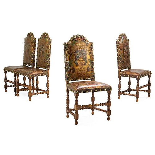 SET OF FOUR DUTCH BAROQUE STYLE SIDE CHAIRS