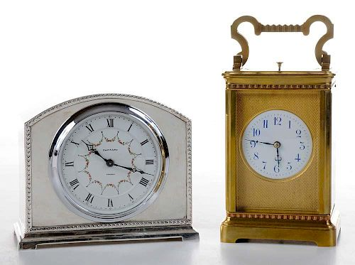 Edwardian French Brass Carriage Clock with a Silver-Plated Mantle Clock