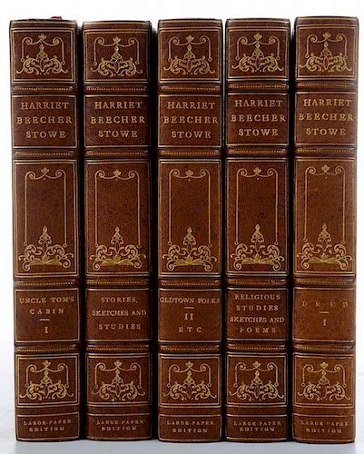 [The Writings of Harriet Beecher Stowe], 16 volumes; together with a signed photograph