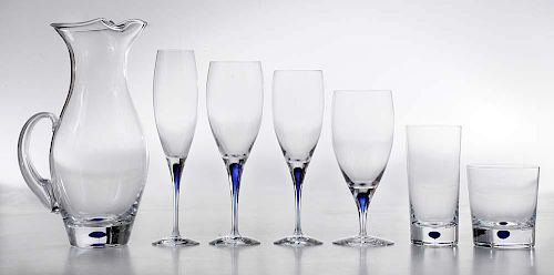 Orrefors Blue Intermezzo Stemware and Barware Service for Eight with Extra Stems (64 pieces)