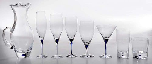 Orrefors Blue Intermezzo Stemware and Barware Service for Twelve (97 pieces)