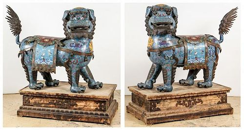 Pair of Palace-Size Cloisonne Foo Dogs, Qing D.